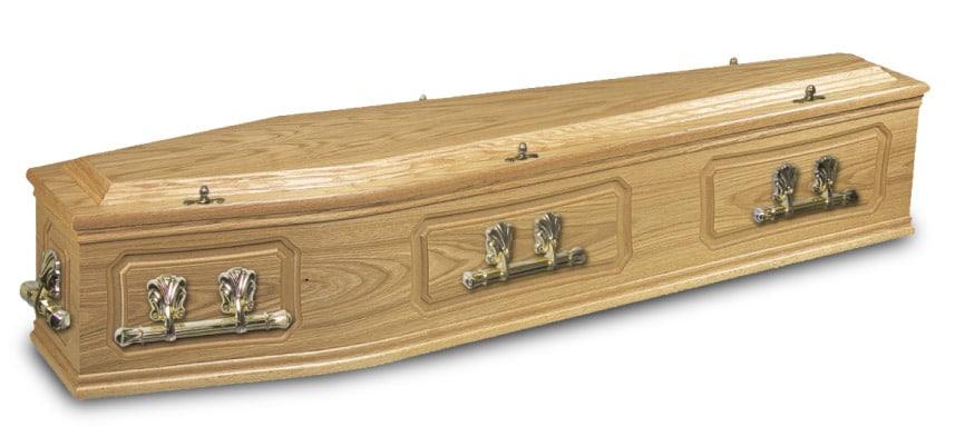 veneer wood coffin