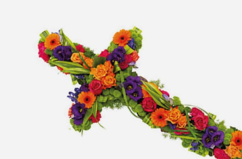 Beautiful floral funeral crosses available in a variety of colours