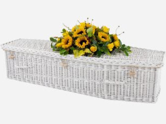 white childs coffin