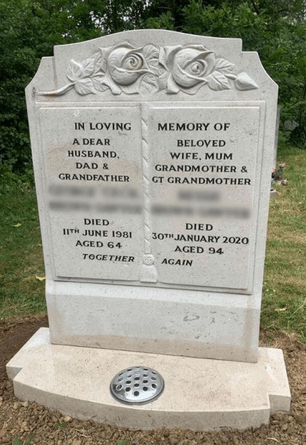 white memorial stone bennetts funerals
